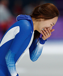 February 18, 2018 - Gangneung, South Korea - Speed skater Sang-Hwa Lee of Korea reacts after finishing with the second best time in the Ladies Speed Skating 500M finals and wins the silver medal at the PyeongChang 2018 Winter Olympic Games at Gangneung Oval on Sunday February 18, 2018. (Credit Image: © Paul Kitagaki Jr. via ZUMA Wire)