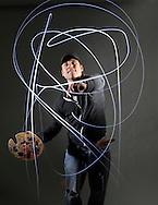 Dan Kurash draws with a flashlight on March 15, 2011 in Chicago.