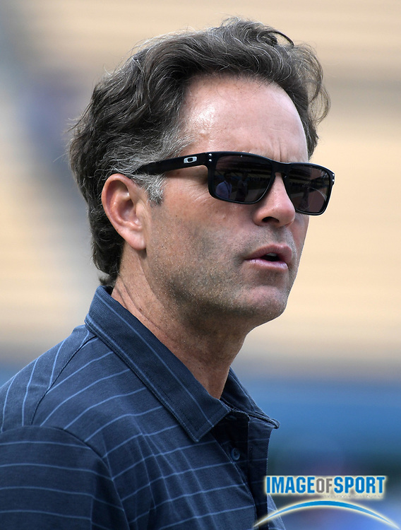 Apr 1, 2018; Los Angeles, CA, USA; Eric Karros attends a MLB baseball game between the Los Angeles Dodgers and the San Francisco Giants at Dodger Stadium.