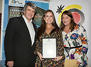 NO FEE PICTURES<br /> 25/1/19 Melanie May, winner of the Best Newcomer (Gerry O'Hare Award), presented by Sharon Jordan of Uniworld and Eoghan Corry, editor of Travel Extra pictured at the Travel Extra Travel Journalist of the Year 2018 at the Clayton Hotel, Ballsbridge in Dublin. Picture; Arthur Carron