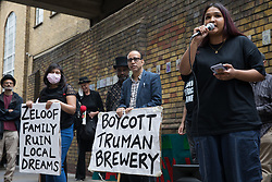 Tasnima Uddin, co-founder of Nijjor Manush, addresses local residents and supporters of the Save Brick Lane campaign outside the Truman Brewery following a funeral procession along Brick Lane organised in protest against the ongoing gentrification of Shoreditch on 12th September 2021 in London, United Kingdom. Campaigners are protesting in particular against plans to develop the Truman Brewery into a shopping centre and 5-storey office building. Tower Hamlets experienced more gentrification than any other London borough between 2010-2016.