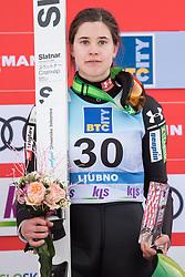 February 8, 2019 - Ursa Bogataj of Slovenia on podium celebrates her third place at first competition day of the FIS Ski Jumping World Cup Ladies Ljubno on February 8, 2019 in Ljubno, Slovenia. (Credit Image: © Rok Rakun/Pacific Press via ZUMA Wire)