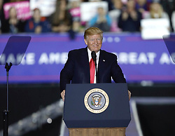 April 28, 2018 - Washington Township, MI, USA - President Donald Trump speaks during a Make America Great Again rally at Total Sports Park in Washington Township, Mich., on Saturday, April 28, 2018. (Credit Image: © Junfu Han/TNS via ZUMA Wire)