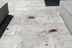 © Licensed to London News Pictures. 28/05/2019. London, UK. London, UK. Blood is seen on Romford Road (opposite Warwick Road), Forest Gate in East London where a man in his 30s died in the early hours of this morning following a fight on Warwick Road.<br />