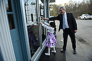 Harlan Croff and his daughter Katherine arrive for the Friends of WAVM's annual Spring Fling Father-Daughter Dance in Maynard, Friday, April 29, 2016.<br /> Wicked Local staff photo / Kate Flock