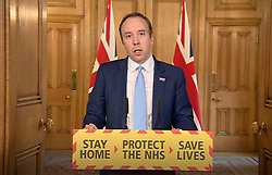 Screen grab of Health Secretary Matt Hancock who has tested positive for coronavirus, answering questions from the media via a video link during a media briefing in Downing Street, London, on coronavirus (COVID-19).