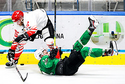 Andrej Tavzelj of HDD SIJ Acroni Jesenice vs Jusso Pulli of HK SZ Olimpija during ice hockey match between HK SZ Olimpija and HDD SIJ Acroni Jesenice in first game of Final at Slovenian National League, on April 30, 2020 in Hala Tivoli, Ljubljana, Slovenia. Photo by Matic Klansek Velej / Sportida