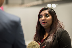 4 December 2019, Madrid, Spain: Lutheran World Federation secretary for youth Pranita Biswasi is interviewed on television, following a press conference held at COP25, reporting on the findings of an interfaith dialogue on 1 December.