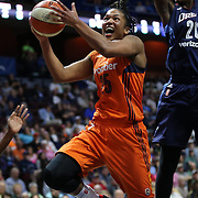 UNCASVILLE, CONNECTICUT- JUNE 3: Alyssa Thomas #25 of the Connecticut Sun drives to the basket past Sancho Lyttle #20 of the Atlanta Dream during the Atlanta Dream Vs Connecticut Sun, WNBA regular season game at Mohegan Sun Arena on June 3, 2016 in Uncasville, Connecticut. (Photo by Tim Clayton/Corbis via Getty Images)