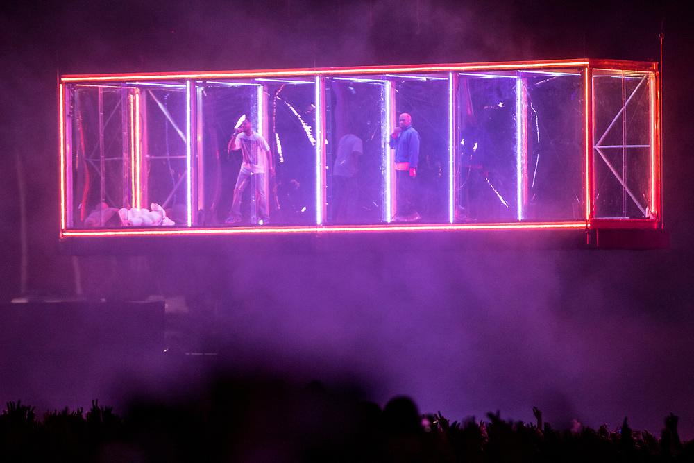 Kids See Ghosts (Kanye West + Kid Cudi) performing at Tyler The Creator's Camp Flog Gnaw Carnival on November 11, 2018.