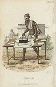 Indian using iron filled with hot charcoal to press clothes. Hand-coloured engraving published R Ackermann, London, 1822