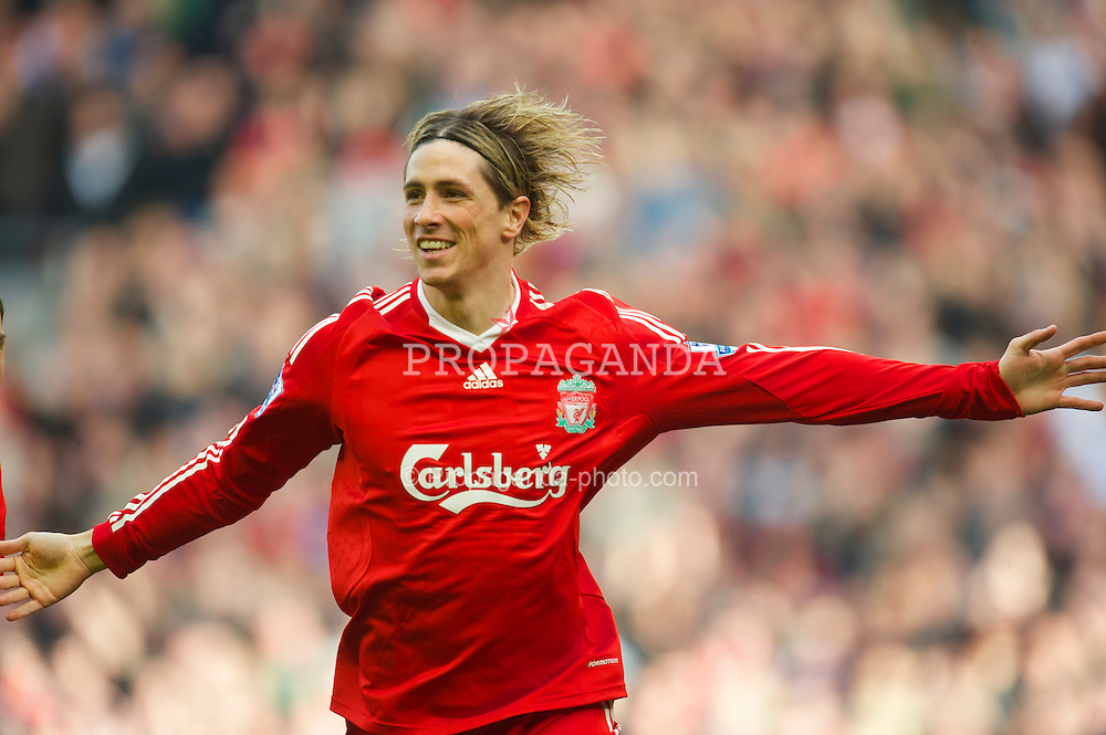 LIVERPOOL, ENGLAND - Sunday, March 28, 2010: Liverpool's Fernando Torres celebrates scoring a spectacular opening goal against Sunderland during the Premiership match at Anfield. (Photo by: David Rawcliffe/Propaganda)