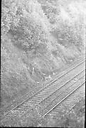 Explosion on Railway Line at McKee Barracks.<br /> 1970.<br /> 14.10.1970.<br /> 10.14.1970.<br /> 14th October 1970.<br /> Scene of where an explosive device detonated on the railway line near McKee Barracks.