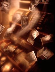 Money flys flying around cash register motion movement CONCEPT STOCK PHOTOS