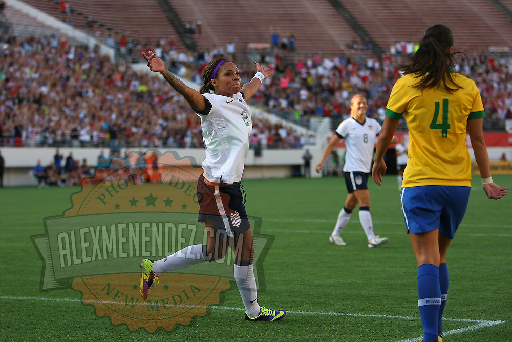 U.S. forward Sydney Leroux (2) celebrates after scoring a goal during a women's soccer International friendly match between Brazil and the United States National Team, at the Florida Citrus Bowl  on Sunday, November 10, 2013 in Orlando, Florida. The U.S won the game by a score of 4-1.  (AP Photo/Alex Menendez)