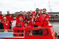 The players arrives at Lloyds Amphitheatre during the Bristol City open top bus parade to celebrate winning both the League 1 and Johnstone's Paint Trophy titles this season and promotion to the Championship - Photo mandatory by-line: Rogan Thomson/JMP - 07966 386802 - 04/05/2015 - SPORT - FOOTBALL - Bristol, England - Bristol City Bus Parade.