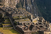 Early morning light strikes stone ruins in Machu Picchu, Peru on September 21, 2005.