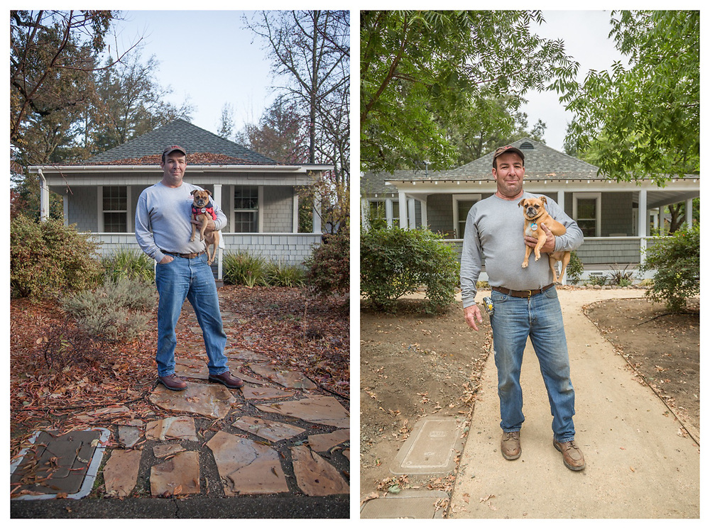 """"""" I started this project on December 4, 2015 and today, I will receive my final inspection.  I believe this may be my last big project.""""  - Hal Leggett with his dog, Cooper, in front of his Myrtle Street remodel project on 12-4-2015 and again on 9-5-2017"""