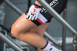 A Team Sunweb rider walks onto the stage before Liege-Bastogne-Liege - a 136 km road race, between Bastogne and Ans on April 22, 2018, in Wallonia, Belgium. (Photo by Balint Hamvas/Velofocus.com)