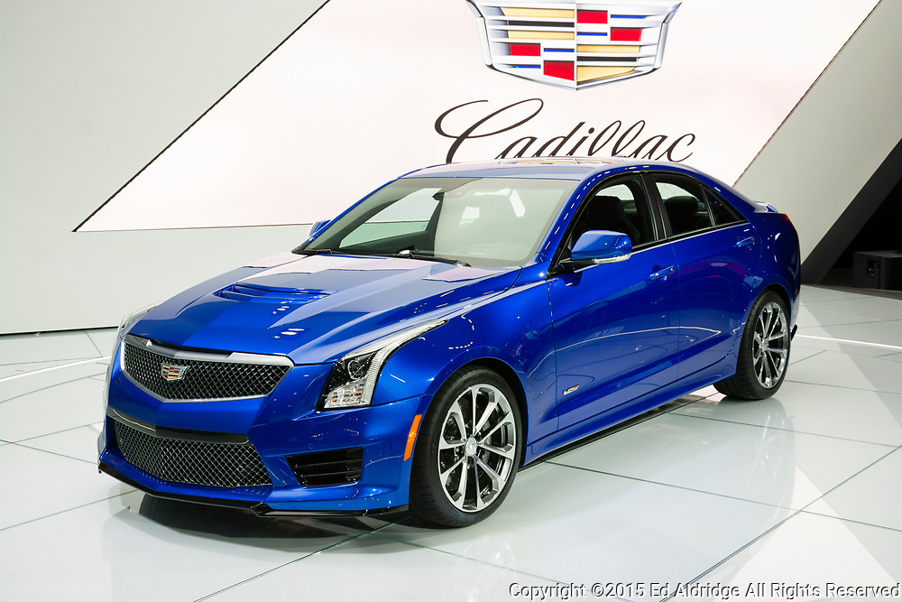 DETROIT, MI, USA - JANUARY 12, 2015: Cadillac ATS-V sedan on display during the 2015 Detroit International Auto Show at the COBO Center in downtown Detroit.