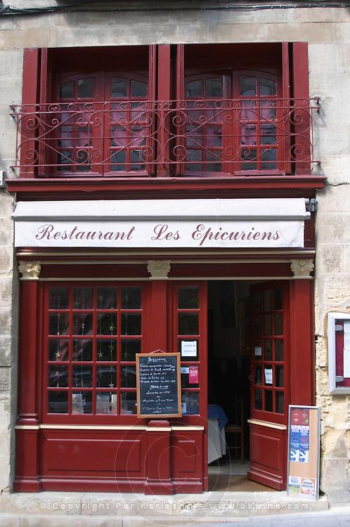 Restaurant Les Epicuriens. The town. Saint Emilion, Bordeaux, France