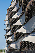 The Wave Car park, Cardiff Bay, Wales. Tensile fabric facade. Architects: Scott Brownrigg