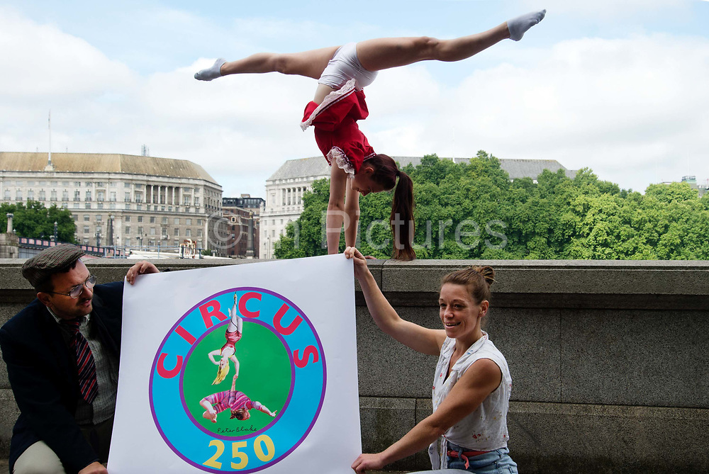 The official launch of Circus 250, the UK and Ireland-wide festival celebrating 250 years of circus throughout 2018 on 25th July 2017 in London, United Kingdom. Internationally renowned circus company Lost in Translation perform on the very spot on London's SouthBank where in 1768, retired cavalryman, showman and entrepreneur Philip Astley drew out a ring and filled it with astonishing acts. Every circus, anywhere in the world, began at that moment.