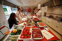 """Lenotre Ecole Culinaire, Paris,..short course - """"Return to the Market"""" with Chef Jacky Legras..the ingrediants from the market, at the start of the class..the students decide on the recipes...photo by Owen Franken for the NY Times..July 12, 2007......."""