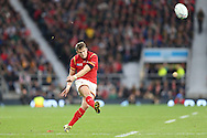 Dan Biggar of Wales scores a penalty kick. Rugby World Cup 2015 quarter final match, South Africa v Wales at Twickenham Stadium in London, England  on Saturday 17th October 2015.<br /> pic by  John Patrick Fletcher, Andrew Orchard sports photography.