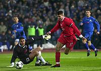 3.03.2004 Sofia, Bulgaria Levski-Liverpool Cup Uefa<br /> Steven Gerrard(R) from Liverpol passing by Ivankov Dimitar(L)   <br /> from Levski<br /> Photo:Aleksandar Djorovic/ DIGITALSPORT