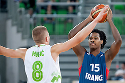 Edo Muric of Slovenia and Mickael Gebale of France during last friendly match before Eurobasket 2013 between National teams of Slovenia and France on August 31, 2013 in SRC Stozice, Ljubljana, Slovenia. (Photo by Urban Urbanc / Sportida.com)