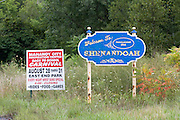 A sign welcomes visitors to Shenandoah, Pennsylvania.  Shenandoah, a coal mining boom town, boasted a population of nearly 30,000 in the early 20th century but now is home to only about 5,000 residents.  An influx of Hispanics in recent years has created tensions and in July 2008 three white teens were charged in the murder of a Mexican immigrant.