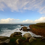 Land's End (Cornish: Penn an Wlas or Pedn an Wlas). It is the most westerly point of mainland Cornwall and England, is within the Penwith peninsula and is about eight miles (13 km) west-southwest of Penzance at the starting and finishing point of the A30 road