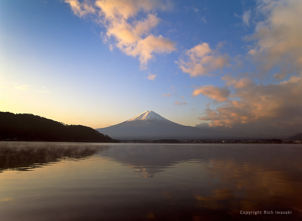 Mt. Fuji and Lake Kawaguchi at sunrise, Fuji-Hakone-Izu National Park, Kanagawa Prefecture, Japan. Mt. Fuji is the highest mountain in Japan at 12,400ft/3,776m.
