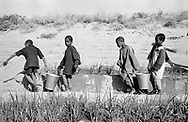 MALI. Bia. 20/12/1985: Schoolchildren watering a vegetable garden. The benefit of the sales of the vegetables will serve to buy schoolmaterial and teach the children to diversify their food habits.
