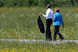07.06.2015, Schloss Elmau, Krün, GER, G7 Gipfeltreffen auf Schloss Elmau, im Bild Barack Obama beim Spaziergang mit Angela Merkel // during the G7 summit at Schloss Elmau in Krün, Germany on 2015/06/07. EXPA Pictures © 2015, PhotoCredit: EXPA/ SM<br /> <br /> *****ATTENTION - OUT of GER*****