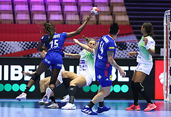 HERNING, DENMARK - DECEMBER 6: Kalidiatou Niakate clashes with Barbara Lazovic during the EHF Euro 2020 Group A match between Slovenia and France in Jyske Bank Boxen, Herning, Denmark on December 6, 2020. Photo Credit: Allan Jensen/EVENTMEDIA.