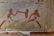 Colorful reliefs on the walls of the  Kagemni Mastaba,- North of the Teti Pyramid,at the Saqqara necropolis for the Ancient Egyptian capital,of  Memphis,