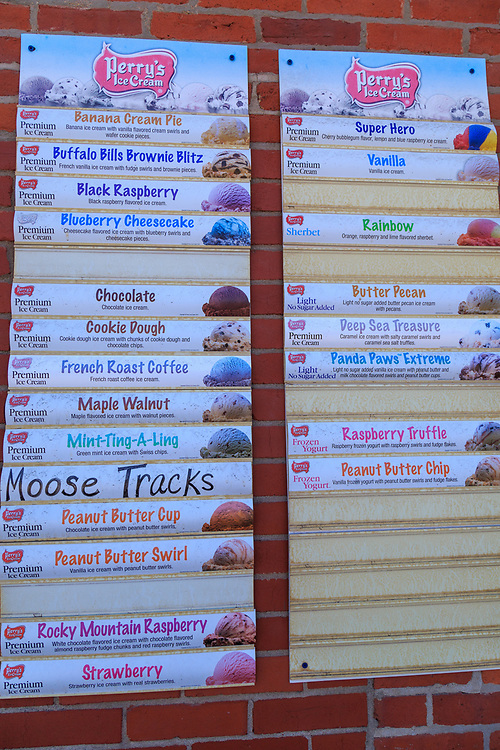Troy, PA - July 26, 2016: A sign mounted on Moose's Munchies listing available ice cream flavors.