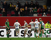 Rugby Union - 2020 / 2021 Gallagher Premiership - Round 19 - London Irish vs Exeter Chiefs - Brentford Community Stadium<br /> <br /> Fans celebrate as Exeter Chiefs' Sam Simmonds scores his hat trick try.<br /> <br /> COLORSPORT