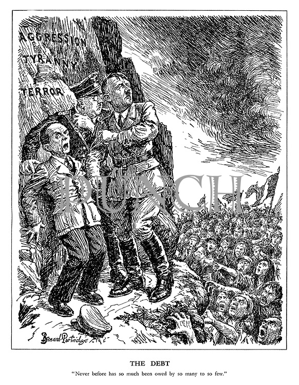 "The Debt. ""Never before has so much been owed by so many to so few."" (the angry masses of the displaced peoples of Europe advance to take revenge on a frightened Hitler, Goebbels and Himmler who have retreated to their mountain ledge of Aggression, Tyranny and Terror)"