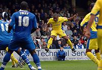 Photo: Ashley Pickering.<br /> Gillingham v Leeds United. Coca Cola League 1. 29/09/2007.<br /> Sebastian Carole (C) heads in the opener for Leeds