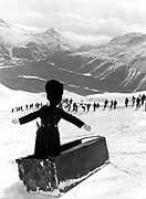 Mike Fitroy. Dangerous Sports Club ski race. St. Moritz. 1983.<br />