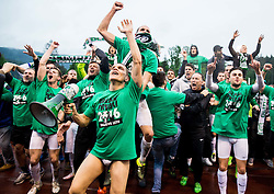 Players of Olimpija celebrate after winning during football match between NK Rudar and NK Olimpija Ljubljana in Round #35 of Prva liga Telekom Slovenije 2015/16, on May 14, 2016, in Stadium Ob jezeru, Velenje, Slovenia. NK Olimpija with this victory became Slovenian National Champion 2016. Photo by Vid Ponikvar / Sportida