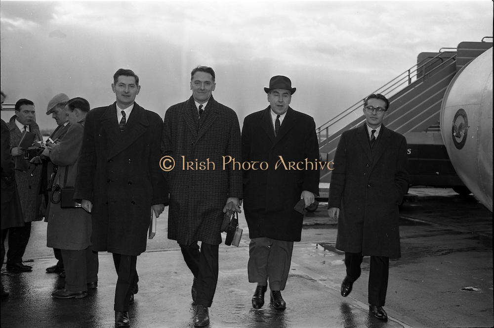 11/01/1963<br /> 01/11/1963<br /> 11 January 1963<br /> Donnelly (Dublin) Ltd. Managers depart for American Tour from Dublin Airport. Managers of Donnelly Ltd departed on a tour of the United States and Canada to inspect meat processing factories to observe first hand the methods of production and merchandising of pig products as practiced in America.  Picture shows  (l-r): Mr J.J. Fleming, Product Manager; Mr J.V. Cunningham, General Manager; Mr Stephen O'Mara,Managing Director, Donnelly Ltd. and Mr R.E. Thomas, Marketing Manager.