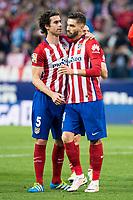 Atletico de Madrid's Tiago and Carrasco during La Liga Match at Vicente Calderon Stadium in Madrid. May 14, 2016. (ALTERPHOTOS/BorjaB.Hojas)