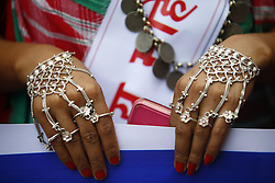 August 9, 2016 - Kathmandu, Nepal - Jewelry of a Nepalese woman is seen as she takes part in a rally to mark International Day of the World's Indigenous Peoples in Kathmandu, Nepal on Tuesday, August 9, 2016. This day is celebrated worldwide to promote and protect the rights of the world's indigenous population. (Credit Image: © Skanda Gautam via ZUMA Wire)