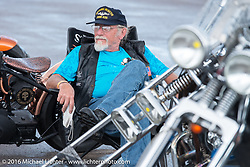 Veteran Marc Vellat  at the Easyriders Bike Show at the Buffalo Chip's Crossroads area during the Sturgis Black Hills Motorcycle Rally. SD, USA. August 10, 2016. Photography ©2016 Michael Lichter.