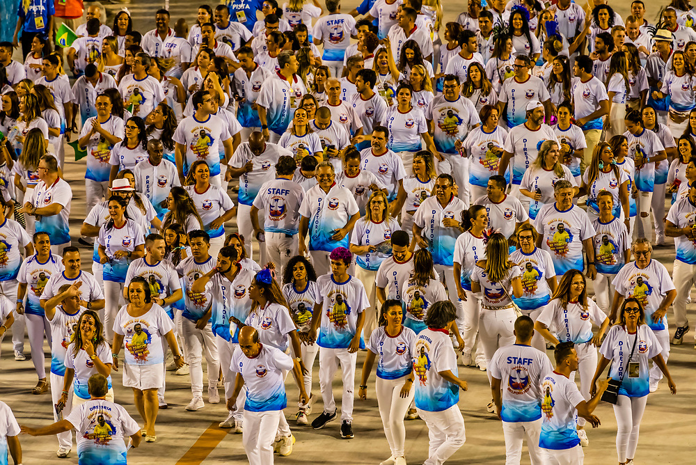 Carnaval parade of Inocentes de Belford Roxo samba school in the Sambadrome, Rio de Janeiro, Brazil.