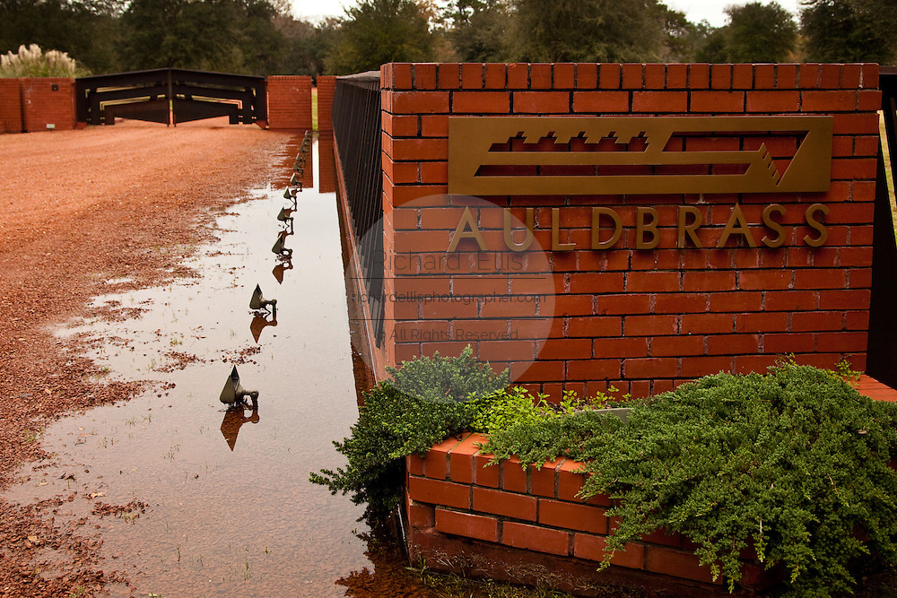 Entry to Auldbrass Plantation, Yemassee, South Carolina. Auldbrass, owned by movie producer Joel Silver, was designed and built by architect Frank Lloyd Wright.